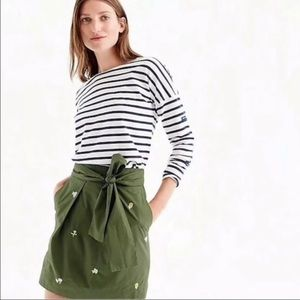 J.Crew Floral Embroidered Olive Green Skirt XS